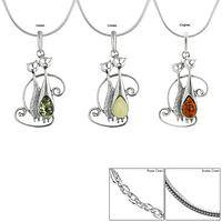 Cat Pals Amber & Sterling Necklace
