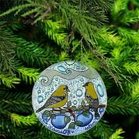 Goldfinches Recycled Glass Ornament