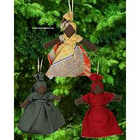 La Gonave Recycled Necktie Lady Ornaments - Set of 3