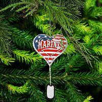 Marines Service Heart & Dog Tag Ornament