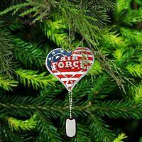 Air Force Service Heart & Dog Tag Ornament