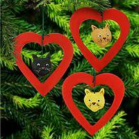 I Love Cats Ceramic Ornaments - Set of 3