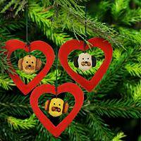 I Love Dogs Ceramic Ornaments - Set of 3