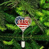 Navy Service Heart & Dog Tag Ornament