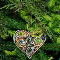 Recycled Magazine Healing Hearts Ornament