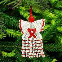 Rwandan Beaded Red Ribbon Ornament