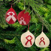 Handwoven Red Ribbon Ornaments - Set of 2