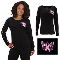 Butterflies Pink Ribbon Long Sleeve Tee
