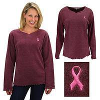 Pink Ribbon Scalloped V-Neck Fleece Top