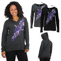 Purple Paw Heart Swirl Hooded Lightweight Tunic