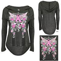 Pink Ribbon & Roses Hooded Top