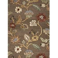 Hand-tufted floral pattern wool blend brown/multi area rug, 'Choco Floral' - Hand-Tufted Floral Pattern Wool Blend Brown/Multi Area Rug