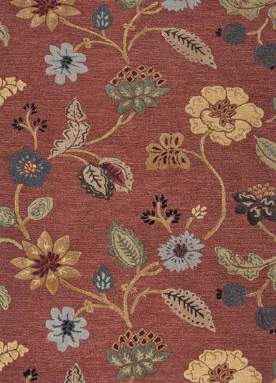 Hand Tufted Floral Pattern Wool Chenille Area Rug Terra