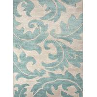 Transitional floral ivory/blue wool and art silk area rug, 'Parisian Scroll' - Transitional Floral Ivory/Blue Wool and Art Silk Area Rug