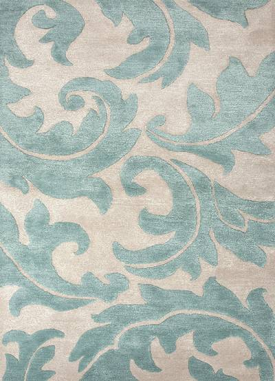 Transitional floral ivory/aqua wool blend area rug, 'Parisian Scroll' - Transitional Floral Ivory/Aqua Wool Blend Area Rug
