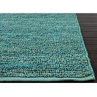 Natural solid turquoise jute area rug, 'Turquoise Loop' - Natural Solid Turquoise Jute Area Rug