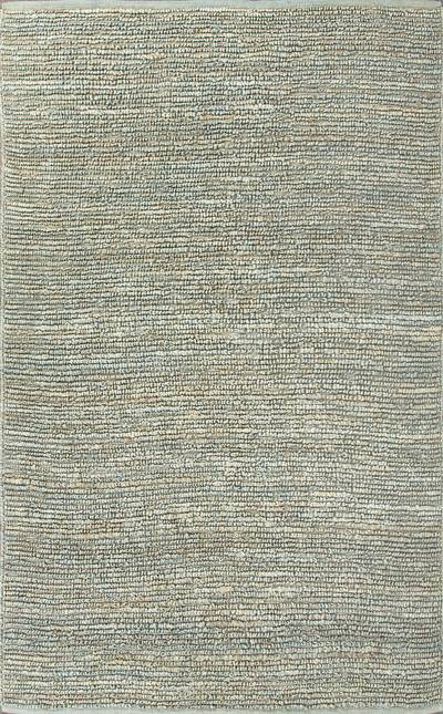 Natural solid aqua jute area rug, Aqua Loop