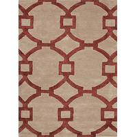 Hand-tufted geometric pattern beige/red wool blend area rug, 'Regal' - Hand-Tufted Geometric Pattern Beige/Red Wool Blend Area Rug