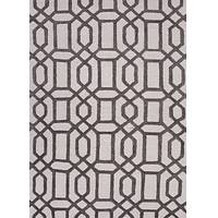 Hand-tufted geometric pattern ivory/grey wool blend area rug, 'Metro Chic' - Hand-Tufted Geometric Pattern Ivory/Grey Wool Blend Area Rug