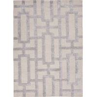 Hand-tufted geometric pattern silver/ecru wool blend area rug, 'Urbanite' - Hand-Tufted Geometric Silver/Ecru Wool Blend Area Rug