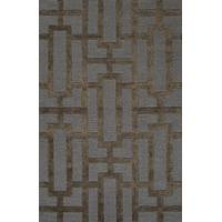Modern geometric blue/brown wool blend area rug, 'Urbanite' - Modern Geometric Blue/Brown Wool Blend Area Rug