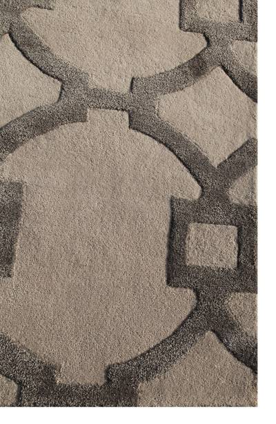 Modern geometric sand/gray wool blend area rug, 'Regal' - Modern Geometric Sand/Grey Wool Blend Area Rug