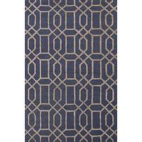Hand-tufted geometric pattern indigo/beige wool blend area rug, 'Metro Chic' - Hand-Tufted Geometric Indigo/Beige Wool Blend Area Rug