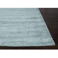 Hand loomed azure striped wool blend area rug, 'Azurial' - Hand Loomed Striped Azure Wool Blend Area Rug