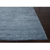 Hand loomed blue striped wool blend area rug, 'Denim Mist' - Hand Loomed Striped Denim Blue Wool Blend Area Rug