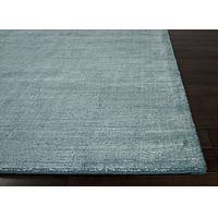 Hand loomed teal striped wool blend area rug, 'Dungaree' - Hand Loomed Striped Teal Wool Blend Area Rug