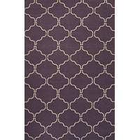 Flat-weave geometric pattern wool plum/ivory area rug, 'Lattice Work' - Flat-Weave Geometric Pattern Wool Plum/Ivory Area Rug