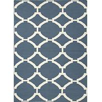 Flat-weave geometric blue/ivory wool area rug, 'Blue Raster' - Flat-Weave Geometric Blue/Ivory Wool Area Rug