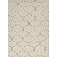 Flat-weave moroccan pattern ivory/taupe wool area rug, 'Lattice Work' - Flat-Weave Moroccan Pattern Wool Ivory/Taupe Area Rug