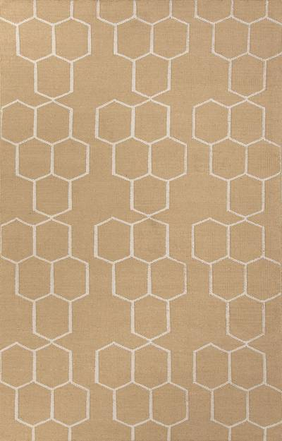 Flat-weave geometric pattern camel/ivory wool area rug, Hexacomb