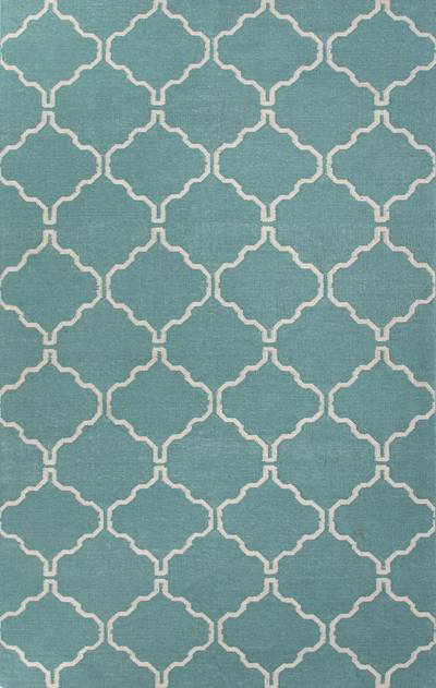 Flat-weave geometric blue/ivory wool area rug, 'Sky Winslow' - Flat-Weave Geometric Blue/Ivory Wool Area Rug