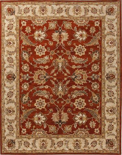 Hand-tufted Oriental pattern red/taupe wool area rug, 'Olympia' - Hand-Tufted Oriental Pattern Wool Red/Taupe Area Rug