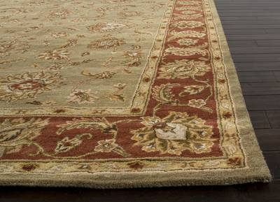 Hand-tufted wool area rug, 'Golden Hills' - Hand-Tufted Green/Red Wool Area Rug