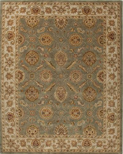 Hand-tufted oriental pattern green/ivory wool area rug, 'Bombay Gold' - Hand-Tufted Oriental Pattern Wool Green/Ivory Area Rug