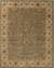 Hand-tufted oriental pattern green/ivory wool area rug, 'Bombay Gold' - Hand-Tufted Oriental Pattern Wool Green/Ivory Area Rug thumbail