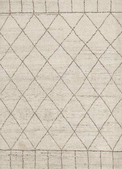 Hand-knotted Moroccan pattern ivory/taupe wool area rug, 'Ethereal' - Hand-Knotted Moroccan Pattern Wool Ivory/Taupe Area Rug