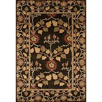 Handmade wool chenille area rug, 'Chamelot' - Handmade Wool Chenille Area Rug with Flowers and Leaves