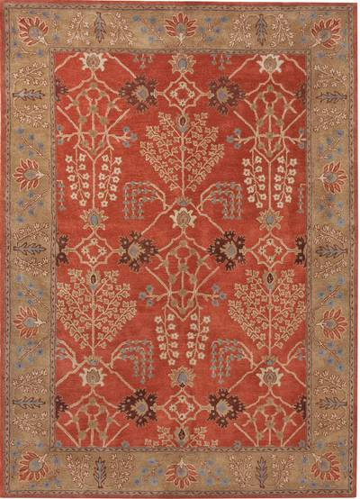 Hand-tufted wool area rug, 'Crimson Spires' - Hand-Tufted 100% Wool Area Rug in Shades of Red