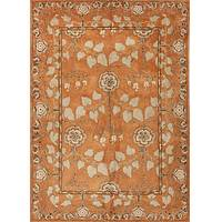 Hand-tufted wool area rug, 'Cinnamon Garden' - Hand-Tufted 100% Wool Area Rug in Shades of Orange
