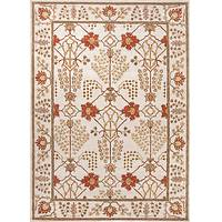 Hand-tufted wool area rug, 'Whitewell Spires' - Hand-Tufted 100% Wool Area Rug in Reds and Ivory