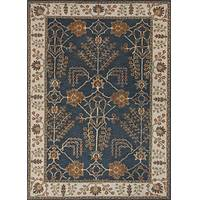 Hand-tufted area rug, 'Bluebell Spires' - Hand-Tufted 100% Wool Area Rug in Blues and Ivory