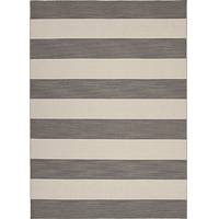 Flat-weave stripe pattern wool area rug, 'Bold Grey' - Flat-Weave Stripe Pattern Wool Gray and Ivory Area Rug