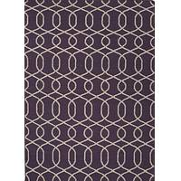 Flat-weave geometric pattern wool area rug, 'Interlaced in Purple' - Flat-Weave Geometric Pattern Wool Purple and Ivory Area Rug