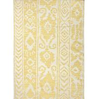 Flat-weave tribal pattern wool area rug, 'Tribal Mod' - Flat-Weave Tribal Pattern Yellow and Ivory Wool Area Rug
