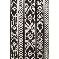 Flat-weave tribal pattern wool area rug, 'Tribal Mod' - Flat-Weave Tribal Pattern Wool Ivory and Black Area Rug