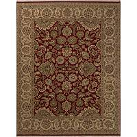 Classic oriental red/taupe wool area rug, 'Newton' - Classic Oriental Red/Taupe wool Area Rug